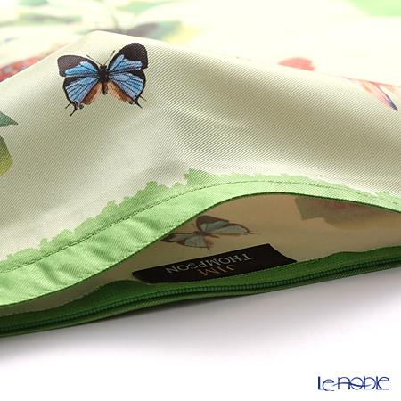 ジムトンプソン クッションカバー シルク フリル 0258B南国の鳥/花/蝶 グリーン 【クッション付】