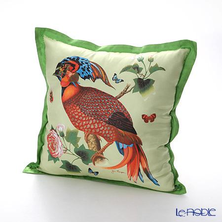 ジムトンプソン クッションカバーシルク フリル 0258B南国の鳥/花/蝶 グリーン 【クッション付】