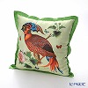 Jim Thompson 'Tropical Bird & Butterfly' Green 0258B Ruffled Silk Cushion Cover (with Cushion) 46x46cm