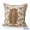 Jim Thompson 'Leopard & Flower' Beige Green 7710B Ruffled Silk Cushion Cover (with Cushion) 46x46cm
