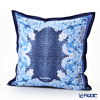 Jim Thompson 'Leopard & Flower' Blue 7710D Ruffled Silk Cushion Cover (with Cushion) 46x46cm