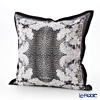Jim Thompson 'Leopard & Flower' Black 7710F Ruffled Silk Cushion Cover (with Cushion) 46x46cm