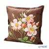 Jim Thompson 'Single Rose' Pink / Brown  Ruffled Silk Cushion Cover (with Cushion) 46x46cm