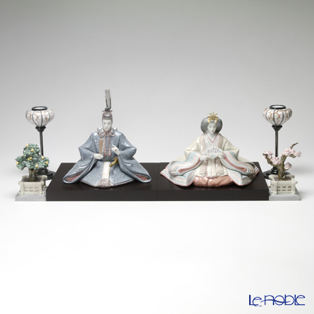 Lladro Hina dolls Empress, Emperor, Japanese Lampstands (Pair) and Japanese Tree Pots(Mandarin and Cherry)