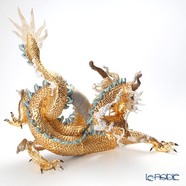 リヤドロ 臥龍 ペア(Blue&Gold) HIGH PORCELAIN台座付