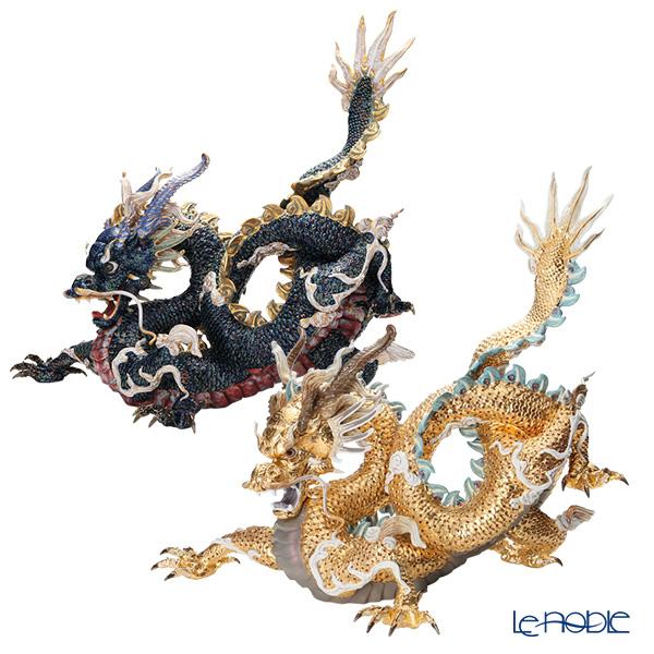 リヤドロ 臥龍 ペア(Blue&Gold) HIGH PORCELAIN 台座付