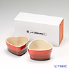 Le Creuset Heart Ramequin/Ramekin 11 cm, cherry red, stoneware (Set of 2) with gift box