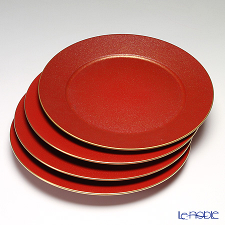 Laque Nouveau 'Gold Glitter' Red Round Charger Plate 33cm (set of 4)