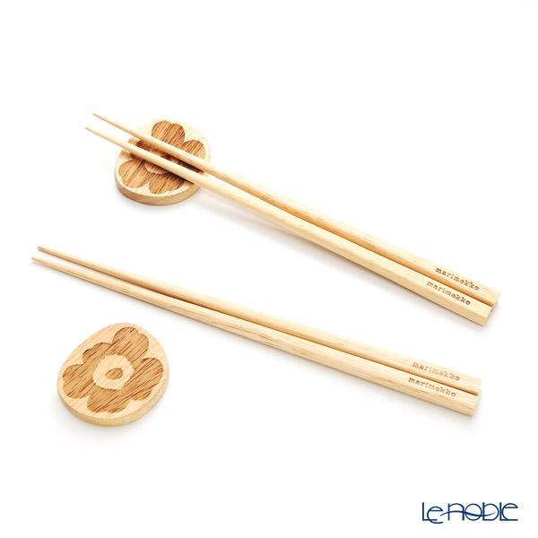 マリメッコ(marimekko) Unikko ウニッコ Chopstick Rest(木製箸置き)& Chopsticks(木製箸22.5cm) 2人用セット 19AW