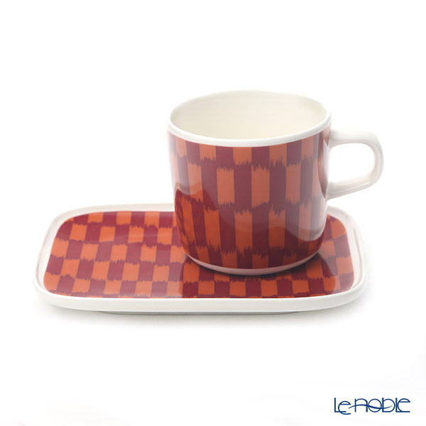 Marimekko 'Piekana / Rough-legged Buzzard' Drark Red x Orange 070612-320&070613-320 Coffee Cup, Rectangular Plate (set of 2 for 1 person)