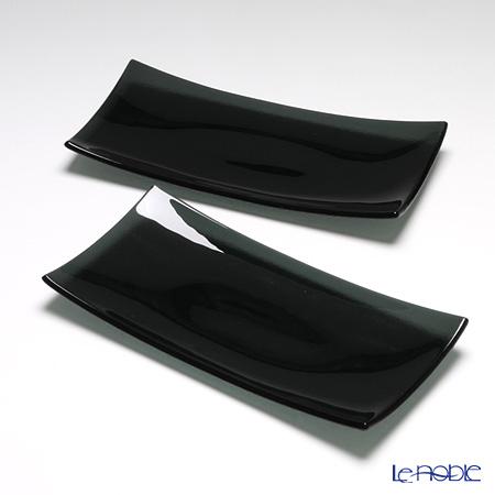 モダンボヘミア 長方形プレート 32×16cm ブラック ペア