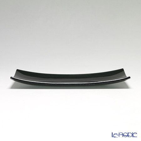 Modern Bohemian rectangular plate Black set of 4 32 x 16 cm