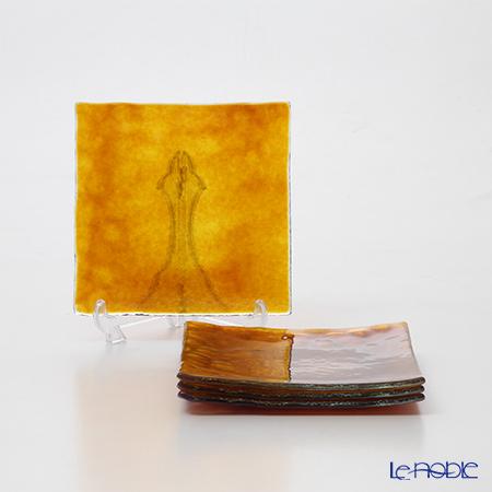 モダンボヘミア カメン スクエアプレートトパーズ 14.5×14.5cm 4枚セット