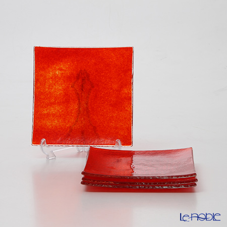 モダンボヘミア スネイル スクエアプレートオパークレッド 14.5×14.5cm 4枚セット