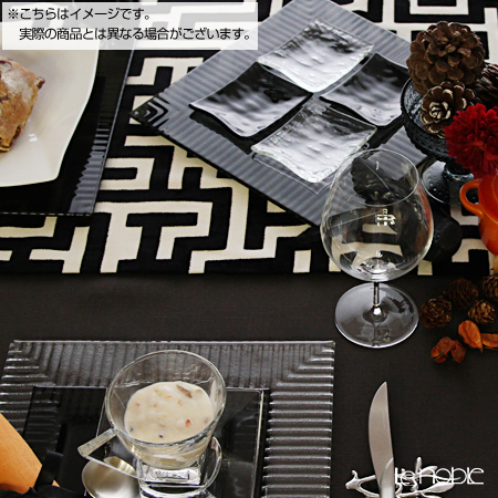 "Modern Bohemia Kubis Black ""Plate set"" Rectangular Plate 21.3x12.8cm (set of 4)"