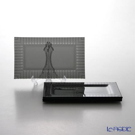 モダンボヘミア クビス 長方形プレートブラック 21.3×12.8cm 4枚セット