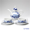 Meissen 'Blue Orchid' Tea Cup & Saucer, Tea Pot (set of 3 for 2 persons)