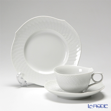 Meissen 'Waves Relief' White Tea Cup & Saucer, Plate (set of 2 for 1 person)