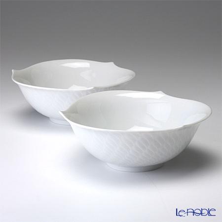 マイセン(Meissen) 波の戯れホワイト 000001/29411 サラダボウル 14.5cm ペア