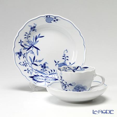 マイセン(Meissen) ブルーオニオン スタイル トリオセット(コーヒーカップ&ソーサー、プレート 18cm)