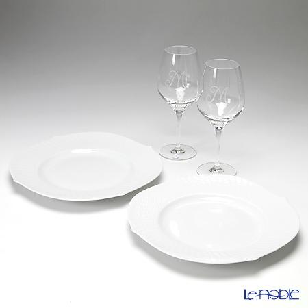 マイセン(Meissen) 波の戯れホワイト&マイセンクリスタル 2人用 フレンチ&ワイン ディナー4点セット