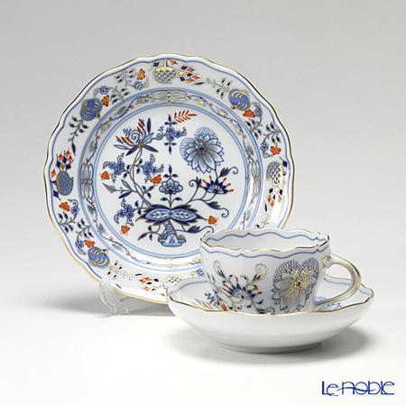マイセン(Meissen) ブルーオニオン レッド&ゴールド トリオセット