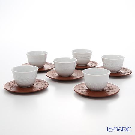Meissen (Meissen) successive relief 1984-1989. White porcelain Cup Saucer with bettega set set 6 guests