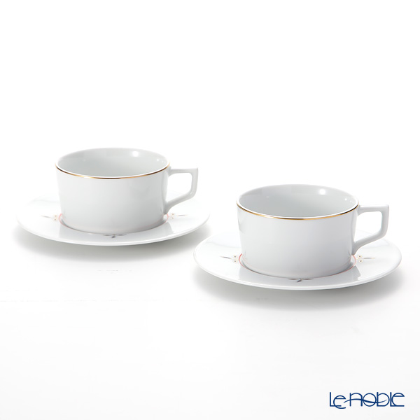 マイセン(Meissen) ノーブルブルー 802490-41633(98A077-41623/562) ティーカップ&ソーサー 150ml (ブロッサムツィッグ) ペア