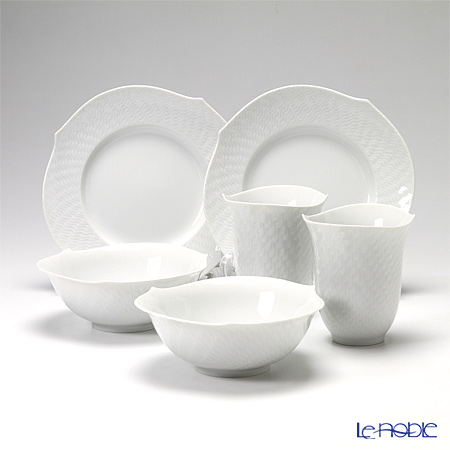 Meissen 'Waves Relief' White 000001/55404&29411&29470 Tumbler, Plate, Bowl (set of 6 for 2 persons)