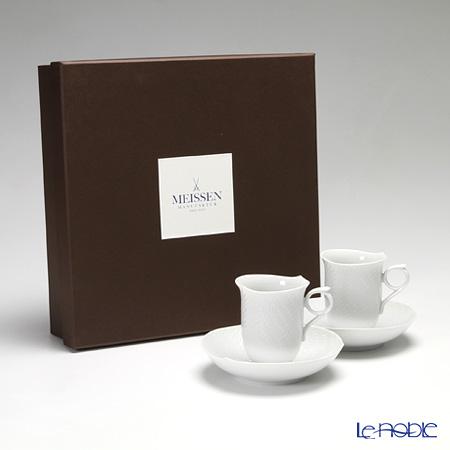 マイセン(Meissen) 波の戯れホワイト 000001/29582コーヒーカップ&ソーサー 180cc ペア 【ブランドボックス付】