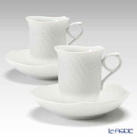 マイセン(Meissen) 波の戯れホワイト 000001/29582 コーヒーカップ&ソーサー 180cc ペア