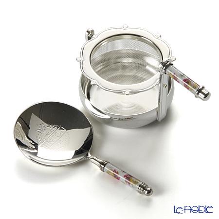 Minton Haddon Hall silver Rotation tee strainer & tea measures
