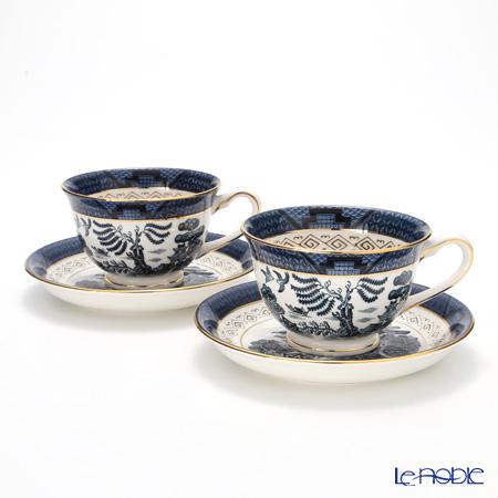 ニッコー 山水 紺 コーヒー碗皿 240cc ペア