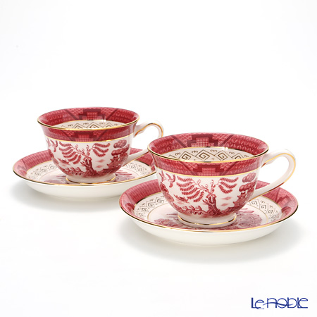 Nikko Red Willow Coffee Cup & Saucer, 240 cc set of 2
