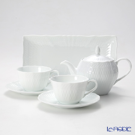 Noritake 'Cher Blanc' Tea Cup & Saucer, Tea Pot, Rectangular Plate (set of 4 for 2 persons)