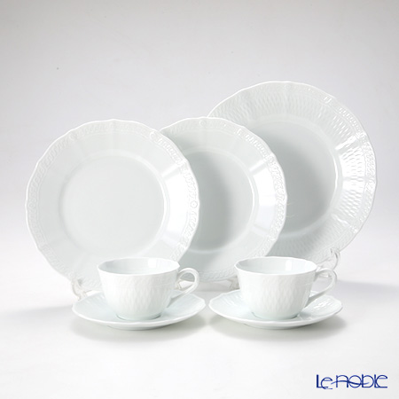 Noritake 'Cher Blanc' Tea Cup & Saucer, Plate (set of 5 for 2 persons)