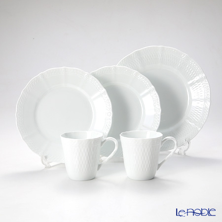 Noritake 'Cher Blanc' Mug, Plate (set of 5 for 2 persons)
