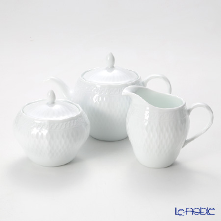 Noritake 'Cher Blanc' Tea Pot, Creamer. Sugar Pot (set of 3)