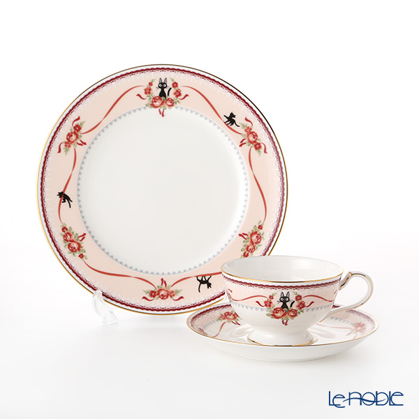Noritake 'Kiki's Delivery Service (Cat)' Pink Tea / Coffee Combined Cup & Saucer, Plate (set of 2 for 1 person) MJ97211&MJ97221/H-612L 则武 '吉卜力工作室 魔女宅急便 - 黑猫吉吉' 粉色 盘子, 红茶/咖啡杯碟 (2件套)