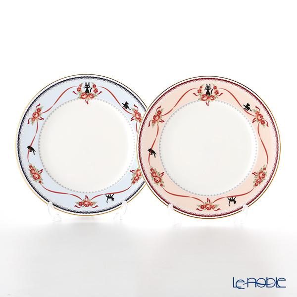 Noritake 'Kiki's Delivery (Cat)' Blue & Pink MJ97211/H-612L H-613L Plate (set of 2 colors) 则武 吉卜力工作室 魔女宅急便 MJ97211 21cm盘 粉色 & 蓝色 一对(2件套)
