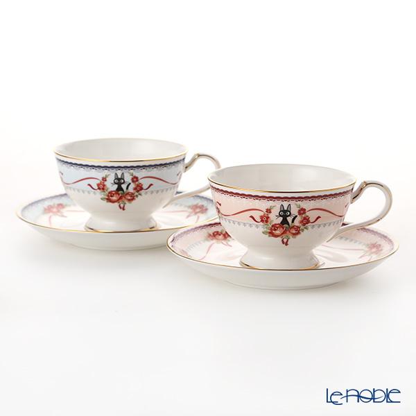 Noritake Kiki's Delivery Set of Tea/Coffee Cup & Saucer, blue & pink MJ97221/H-612L H-613L (Cat) 则武 吉卜力工作室 魔女宅急便 MJ97221 茶·咖啡杯碟 粉色 & 蓝色 一对(2件套)