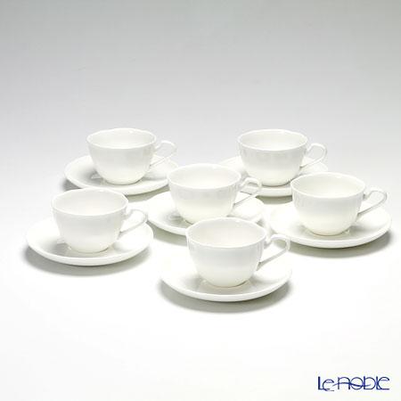 プリモビアンコ 白の器 ティーカップ&ソーサー(フラワーシェイプ) 6客セット