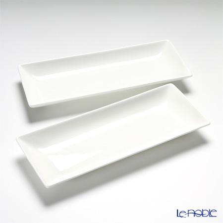 プリモビアンコ 白の器長方形皿 29×12cm ペア