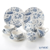 Portmeirion 'Botanic Blue' Tea Cup & Saucer, Plate, Tea Pot, Sugar Pot, Creamer (set of 7 for 2 persons)