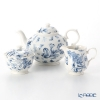 Portmeirion Botanic Blue Pot, Sugar Bowl and Cream Jug