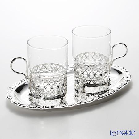 クイーン アン QUEEN ANNE(イギリス製銀メッキ) グラスカップ ハンドル付/アンティーク 0/6322/A ペア 【トレイ付】