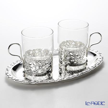 クイーン アン QUEEN ANNE(イギリス製銀メッキ)グラスカップ ハンドル付/ロイヤル 0/6322/7 ペア 【トレイ付】