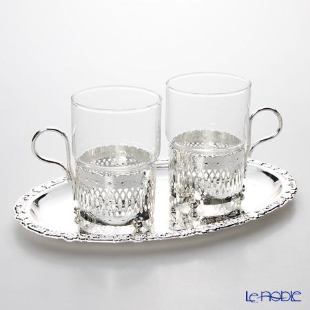 クイーン アン QUEEN ANNE(イギリス製銀メッキ)グラスカップ ハンドル付/ローマン 0/6322/R ペア 【トレイ付】