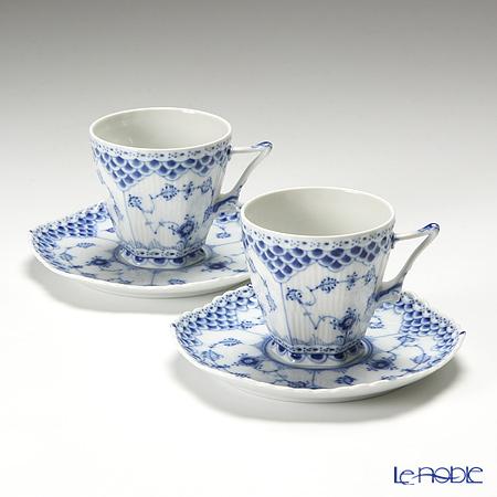ロイヤルコペンハーゲン(Royal Copenhagen) ブルー フルーテッド フルレース コーヒーカップ&ソーサー(S) 140cc ペア 1103068/1017226