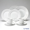Royal Copenhagen White Elements Plate 21 cm, Plate 25 cm and Cup & Saucer, 6 pcs set for 2